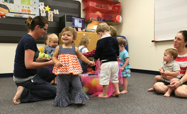 "From ""Cuddle and Bounce"" for infants to ""Family Time"" for toddlers, Kindermusik classes are full of joy. (Vanderbilt University)"
