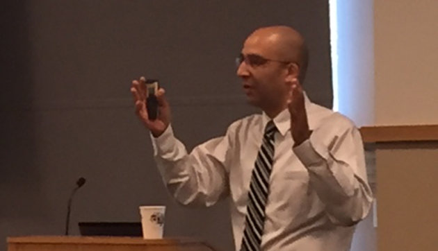 Masood Sidiqyar, VUIT's director of security operations, spoke to members of the University Staff Advisory Council Aug. 8. (Vanderbilt University)