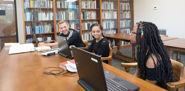 L-r: Opportunity Now interns Tanderious Williams, Hermela Demma and McKenna Mimms at Vanderbilt Library's Special Collections. (Jon Erickson/Vanderbilt)