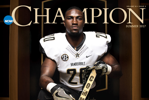 "Vanderbilt student-athlete Oren Burks graces the summer 2017 cover of ""Champion,"" the magazine of the NCAA. (courtesy of NCAA.org)"