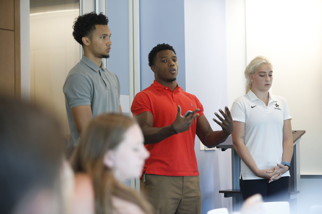 Ten rising sophomore student-athletes are presenting business ideas this summer as part of Pre-Flight, an entrepreneurial experience and pitch workshop held at the Wond'ry. (Vanderbilt University)
