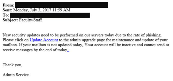An example of a recent phishing email affecting the Vanderbilt community.
