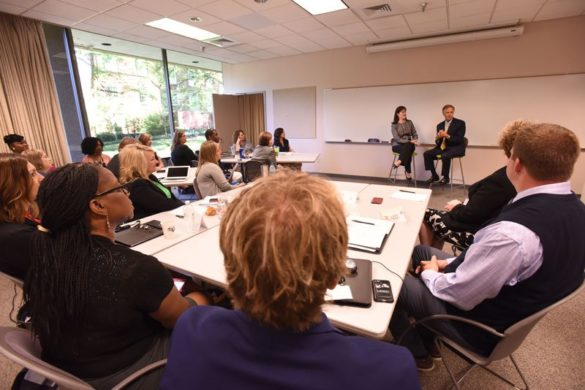 Bill Haslam and Candice McQueen, addressing the GASL 2017 cohort. (Anne Rayner/Vanderbilt)