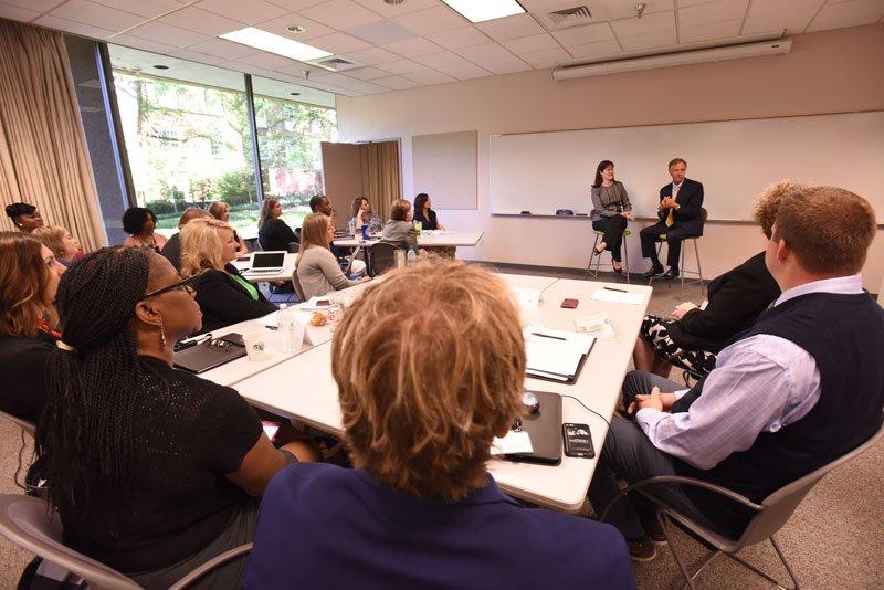 Bill Haslam and Candice McQueen, addressing the GASL 2017 cohort. (Anne Rayner/Vanderbilt)