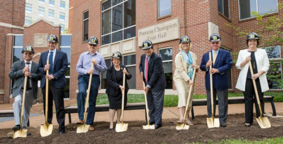 VUSN groundbreaking participants, from left: D.F. Chase President Dennis Gregory, Hastings Architecture Associate Principal Mark Zook, Vanderbilt University Architect Keith Loiseau, School of Nursing Dean Linda Norman, Vanderbilt University Chancellor Nicholas S. Zeppos, Vanderbilt University Provost and Vice Chancellor for Academic Affairs Susan R. Wente, Vanderbilt University Board of Trust Emeritus Trustee Dennis Bottorff, and School of Nursing Alumni Board President Tiffany Street. (John Russell/Vanderbilt)