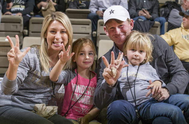 Brandt and Mandy Snedeker and family at a Vanderbilt basketball game in Memorial Gym, February 2017. (Joe Howell/Vanderbilt)