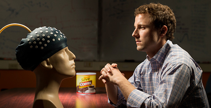 researcher and helmet