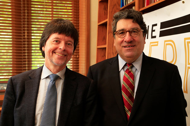 Acclaimed documentary filmmaker Ken Burns and Vanderbilt University Chancellor Nicholas S. Zeppos (Vanderbilt University)
