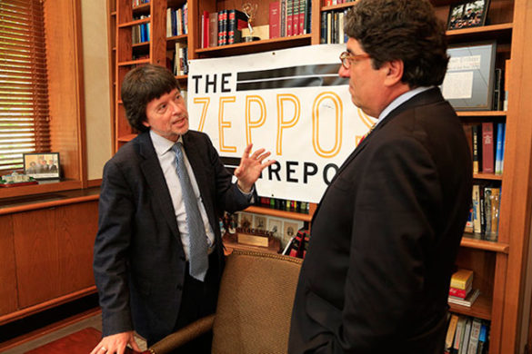 Documentary filmmaker Ken Burns (left) and Chancellor Nicholas S. Zeppos. (Vanderbilt University)