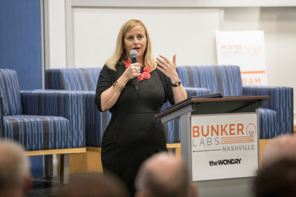 Nashville Mayor Megan Barry addressed attendees at the Muster Across America launch May 24 at the Wond'ry. (John Russell/Vanderbilt)