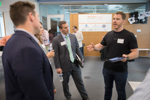 Menud founder Neil Whitney shares his startup pitch at the Muster Across America launch May 24 at the Wond'ry. (John Russell/Vanderbilt)