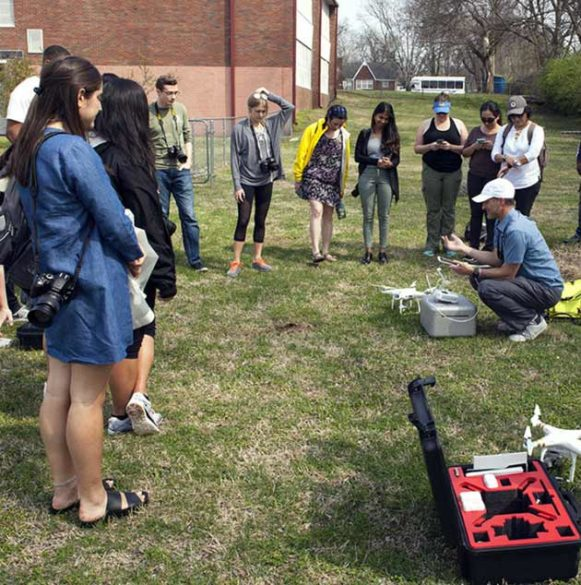 Seattle artist Tivon Rice leads a site-specific workshop on mapping with drones. (Vesna Pavlovic/Vanderbilt)