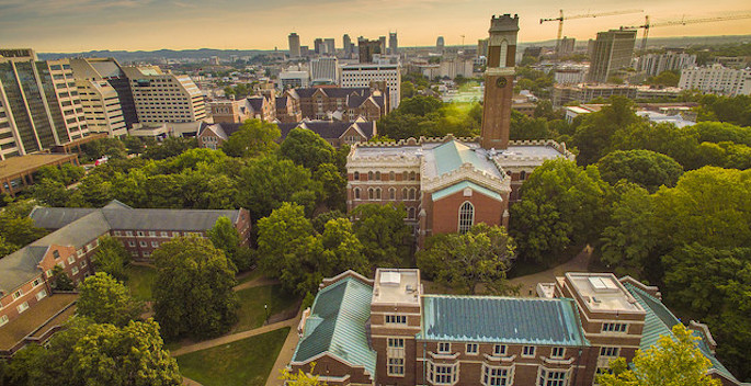 Aerial view of campus viewing Alumni Hall, Kirlkland, and Stevenson and the Medical Center in the background