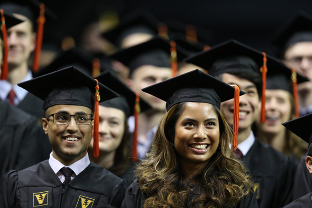 Class of 2017 graduates were all smiles during Commencement May 12 in Memorial Gym. (Vanderbilt University)