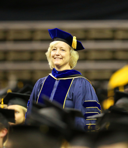 Vice Chancellor for Academic Affairs and Provost Susan R. Wente presented the 2017 Founder's Medals during Commencement exercises May 12. (Vanderbilt University)