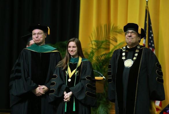 School of Medicine Dean Jeff Balser, Founder's Medalist Samantha Haley and Chancellor Nicholas S. Zeppos. (Joe Howell/Vanderbilt)