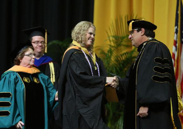 School of Nursing Dean Linda Norman, Founder's Medalist Beverly Padgett and Chancellor Nicholas S. Zeppos. (Joe Howell/Vanderbilt)