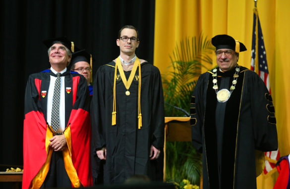 Owen School Dean Eric Johnson, Founder's Medalist Aaron Dorn and Chancellor Nicholas S. Zeppos. (Joe Howell/Vanderbilt)