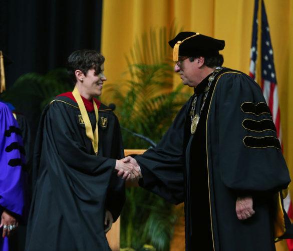 Divinity School Founder's Medalist Dorothy Parks-Piatt and Chancellor Nicholas S. Zeppos. (Joe Howell/Vanderbilt)
