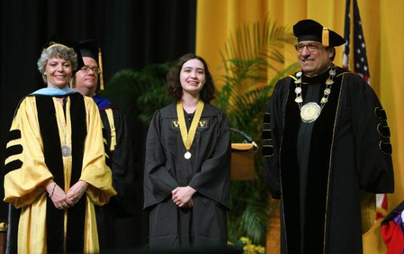 Peabody College Dean Camilla Benbow, Founder's Medalist Lauren Heyano and Chancellor Nicholas S. Zeppos. (Joe Howell/Vanderbilt)