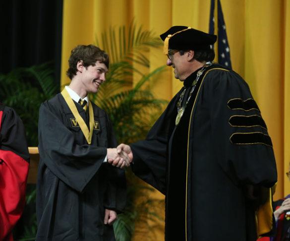 School of Engineering Founder's Medalist Duncan Morgan and Chancellor Nicholas S. Zeppos. (Joe Howell/Vanderbilt)