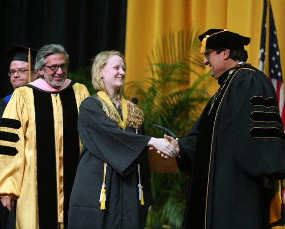 Blair School Dean Mark Wait, Founder's Medalist Mary Grace Johnson and Chancellor Nicholas S. Zeppos. (Joe Howell/Vanderbilt)