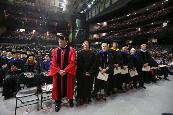 Emeriti faculty members at Vanderbilt's 2017 Commencement ceremony in Memorial Gym. (Joe Howell/Vanderbilt)