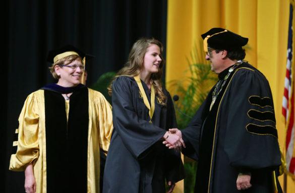 College of Arts and Science Dean Lauren Benton, Founder's Medalist Amanda Jurewicz and Chancellor Nicholas S. Zeppos. (Joe Howell/Vanderbilt)