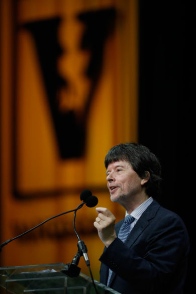 Award-winning documentary filmmaker Ken Burns addressed Vanderbilt graduates as part of Senior Day on May 11. (Daniel Dubois/Vanderbilt)