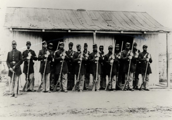 """From Ken Burns' """"The Civil War."""" Union Army, Provost Guard of the 107th Colored Infantry at Fort Corcoran. (credit: Library of Congress)"""