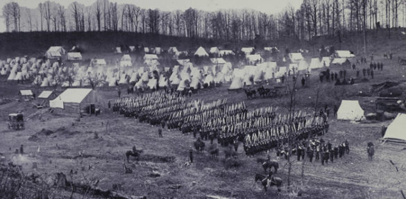 """From Ken Burns' """"The Civil War."""" 96th Pennsylvania marches by column of companies. (credit: Library of Congress)"""