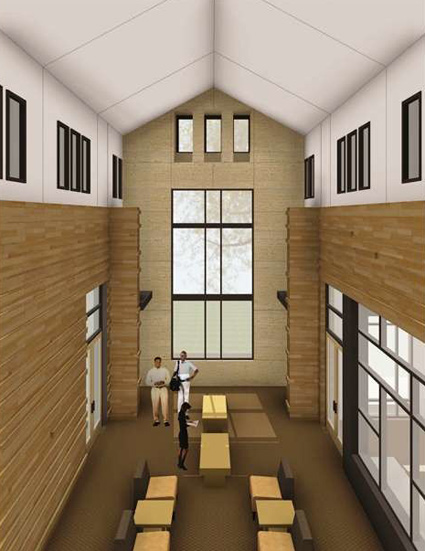 The Divinity School's new community space. (rendering by Gilbert, McLaughlin, Casella Architects)