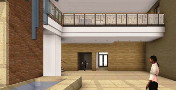 A view of the Divinity School lobby's interior. (rendering by Gilbert, Mclaughlin, Casella Architects)