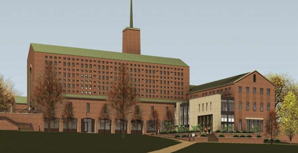 A view of the Vanderbilt Divinity School expansion from 21st Avenue South. (rendering by Gilbert, McLaughlin, Casella Architects)