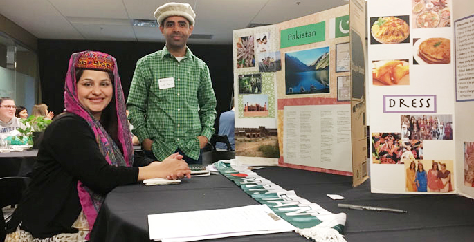 Humphrey Fellows Shazia Kanwal and Lal Kumar prepare to discuss their home country of Pakistan at Lipscomb University's Global Voices Today.