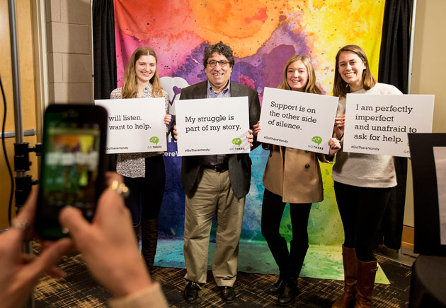 "Chancellor Nicholas S. Zeppos and students at the ""GO THERE"" campaign kickoff Jan. 27 at the Student Life Center. (Vanderbilt University)"