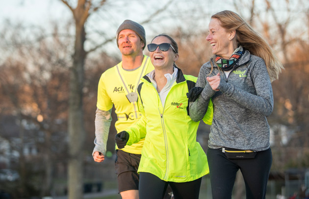 Peabody College senior Stephanie Zundel (center) on a run with her Achilles International training partners Harvey Freeman and Amy Harris. (John Russell/Vanderbilt)