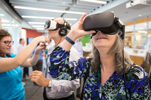 FutureVU Expo attendees at the Vanderbilt campus past and present 360-degree virtual reality experience. (Joe Howell/Vanderbilt)
