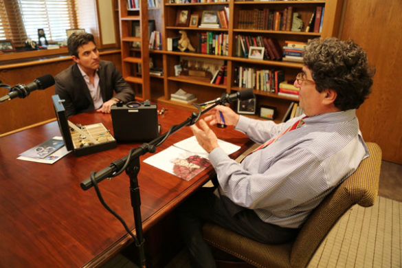 "Chancellor Nicholas S. Zeppos (right) interviews WiseWear CEO Jerry Wilmink for the latest episode of ""The Zeppos Report."""