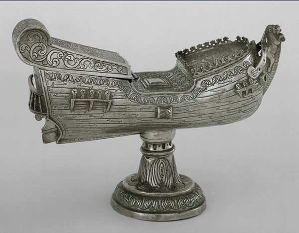 A navicula, a silver incense boat modeled after the oceangoing ships that brought early explorers to new lands.
