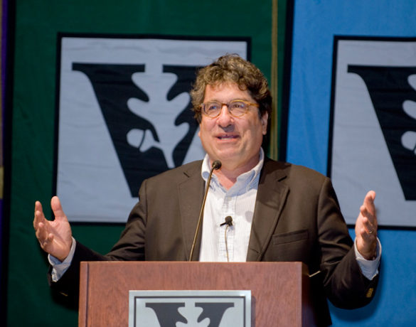 Chancellor Nicholas S. Zeppos gave his annual address to faculty at the spring assembly April 6 in Langford Auditorium. (Vanderbilt University)