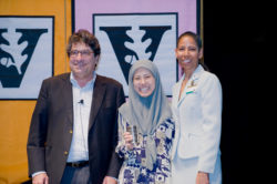 Chancellor Nicholas S. Zeppos, Ellen Gregg Ingalls Award winner Mazita Tahir, and Faculty Senate Chair Charlene Dewey. (Vanderbilt University)