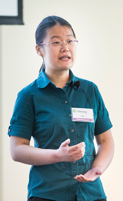 "Chemical and biological engineering graduate student Sichang Lu delivering her presentation ""Resorbable Nanocomposites with Bone-like Strength and Enhanced Cellular Activity."" (Susan Urmy/Vanderbilt)"