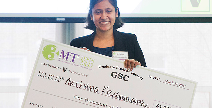 Three Minute Thesis competition winner Archana Krishnamoorthy. (Susan Urmy/Vanderbilt)