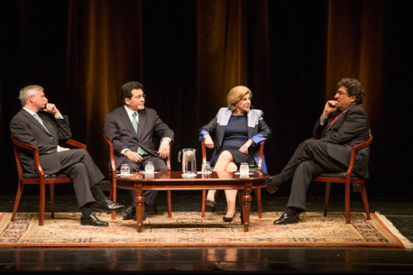 Chancellor Nicholas S. Zeppos (far right) hosted Jon Meacham, Alberto Gonzales and Nina Totenberg for a Chancellor's Lecture Series discussion regarding the U.S. Supreme Court March 30 in Langford Auditorium. (Joe Howell/Vanderbilt)