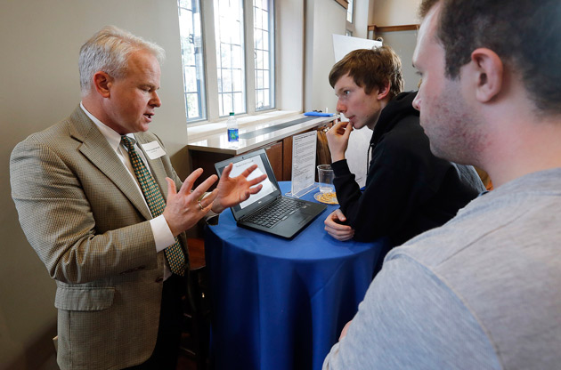 Faculty, collaborators and students associated with 14 currently funded TIPs projects showcased their work during an informal networking event inside the Alumni Hall Reading Room March 20. (Vanderbilt University)