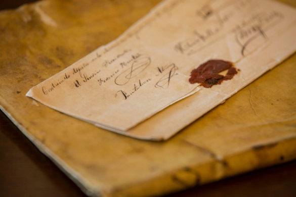 Among the unusual finds in the J. Leon Helguera Collection of Colombiana is an unopened election ballot from hundreds of years ago. (Anne Rayner/Vanderbilt)