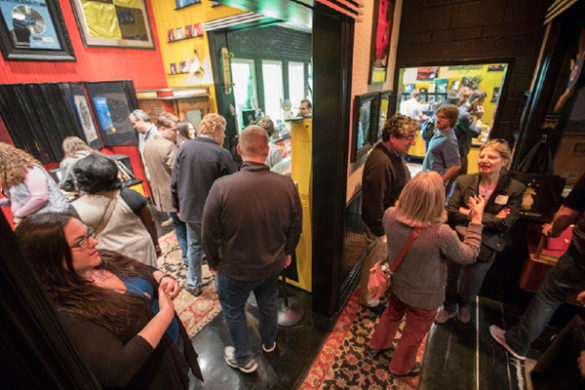 The tour group visited the novelty lounge at Third Man Records. (Vanderbilt University)