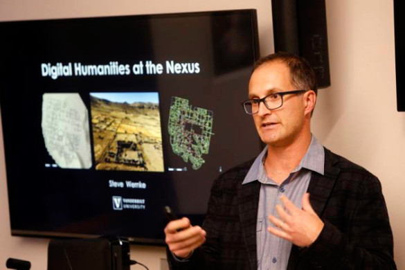 Mellon Faculty Fellow Steven Wernke provided an overview of his archaeological research using digital tools (Steve Green/Vanderbilt)