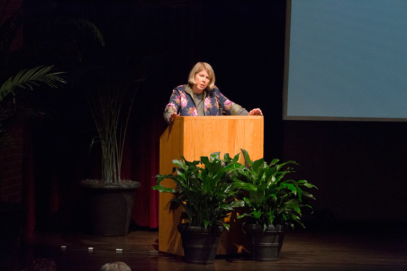 "Kay Redfield Jamison discussed bipolar illness and read from her memoir ""An Unquiet Mind"" during the Chancellor's Lecture Series event Jan. 31 in Sarratt Cinema. (Susan Urmy/Vanderbilt)"